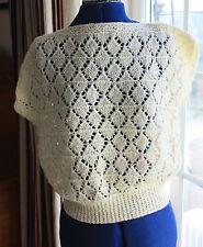 New Hand Knitted Top lemon lace design slash neck medium size 14 to 16