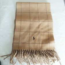Polo Ralph Lauren Lambswool Tan Brown Plaid Check Scarf Fringe Made in Italy