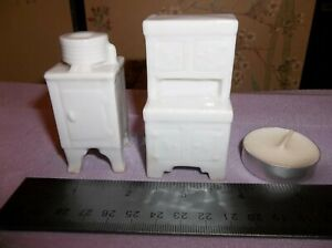 Miniature Vintage Porcelain Kitchen Ice Box and Buffet for Shelf Lot of 2  AS IS