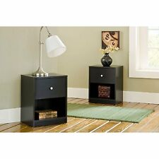 2-Piece Black 1-Drawer Nightstand Bedroom Furniture Collection Set Home Storage