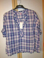 JOHN LEWIS WOMAN - LADIES PURE COTTON PURPLE CHECKED SHIRT SIZE 10 BNWT RRP £39