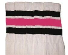 "22"" KNEE HIGH WHITE tube socks with BLACK/BUBBLEGUM PINK stripes style 1 (22-95)"