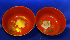 Pair Antique Japanese Red Lacquer Gilt Bowls Peony Wood Cinnabar