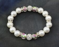 Exclusive 10mm White Pearl & 68 Crystal Paved Shamballa Rose Elastic Bracelet 18