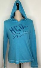 Hollister Logo Hooded Pullover Shirt Long Sleeve Blue Size Medium