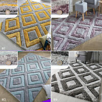 SMALL LARGE MODERN HAND TUFTED SOFT THICK 3D CARVED DIAMONDS PATTERN SHAGGY RUG