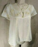 Abercrombie & Fitch Women's MEDIUM White & Beige Cotton embroidered peasant top