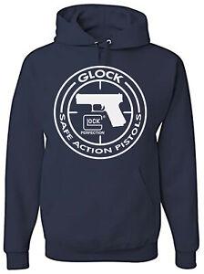 Glock Perfection Handgun Pistol Logo - 50/50 Pullover Hoodies - Navy Blue Medium