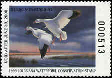 LOUISIANA #11A NON-RES 1999 STATE DUCK STAMP SNOW GOOSE By Ron Louque