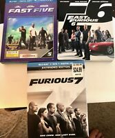 LOT of 3 Blu-Ray Movies - Fast & Furious 5,6 & 7 - FREE S&H