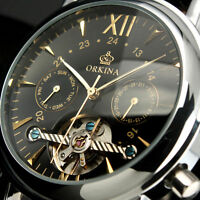 HOT IDOL ORKINA LUXURY skeleton day date Automatic mechanical Leather Mens Watch
