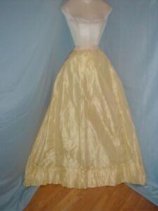 Antique Dress Petticoat Victorian1890's Yellow Silk Taffeta