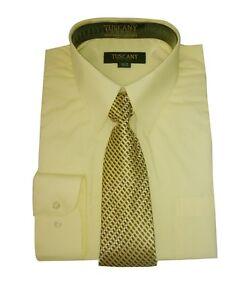 Men's Dress Shirts With Matching Tie Set Cotton Blend Shirt  Set