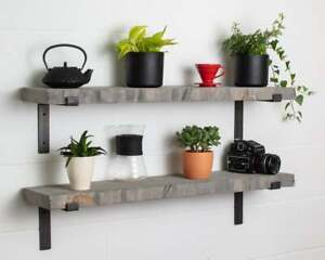 Grey Live Edge-Thick-Lipped-Wax Finish-Rustic Shelves Handcrafted Industrial