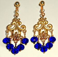 DEEP BLUE CRYSTAL CHANDELIER DANGLES -  CLIP ON EARRINGS (HOOK OPTIONS)