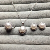 Genuine 8-9mm Cultured Freshwater Pearl Necklace Earring Set S925 White