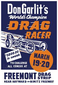 1960 Don Garlits Racing at Fremont Raceway - Vintage Drag Racing Poster
