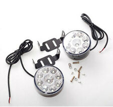 2X 9 LED DRL Car AUTO Fog Lamp Round Driving Running Daytime Light Head White