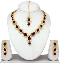 Indian Traditional Fashion Gold Plated Ethnic Wedding party Jewelry Necklace Set