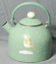 Vintage Green and White Speckled Yellow Bird Metal Tea Kettle w/ Lid and Handle