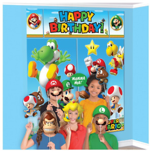 Super Mario Birthday Party Scene Setter Decoration Photo Booth Props