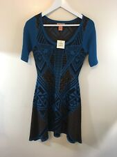 Women's Flying Tomato Blue Aztec Fit & Flare Short Sleeve Dress Size Small NWT