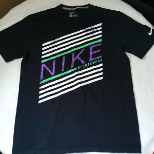 Nike Black Mens Large Spell Out Purple Sleeves Raglan Style Regula Fit T-shirt
