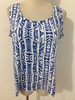 CHICO'S Cami Sleeveless Tank Top T-Shirt Tee Blue & White Size 1