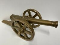 Very Large & Heavy Antique Solid Brass Cannon : 21 Inches Long :  Over 10kg