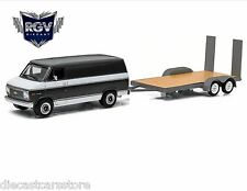 1977 CHEVROLET G-20 VAN W/ FLATBED TRAILER HITCH & TOW 3 1/64 GREENLIGHT 32030 B