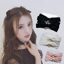 Cute Lolita VTG Japan Velvet Girl Bowknot Bow Tie Pearl Pdenant hair Pin Clip