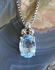 Vintage Sterling Silver Aquamarine Necklace