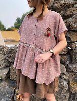 Blouse tunique lin ample rétro Mori ancien shabby hippie chic boheme vintage
