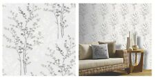 Arthouse Fern Motif Tree Silver Cream Grey Wallpaper, 250404