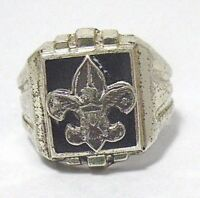 STERLING SILVER BOY SCOUT RING vintage SIZE 8  8.5 GRAMS SYBOLL
