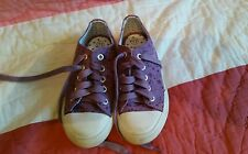 Girls Fat Face purple laced sneakers keds with star pattern UK 11 worn twice