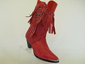 Dingo Red Leather Cowboy Western Boots Womens Size 6 M