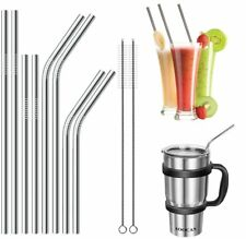 8x Metal Drinking Straws Stainless Steel Drinks Straw Cleaner Party Reusable Bar