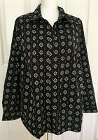 ROAMAN'S Blouse Shirt Women's Plus 20 Long Sleeve Button Collar Black White EUC