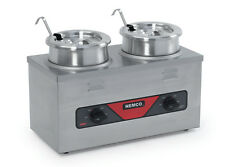 Nemco 6120a Cw Icl 4qt Twin Cooker Warmer With Inset Ladle And Cover