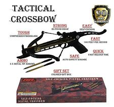 Self Cocking Crossbow 80lb Draw Mini Pistol Cross Bow With 15 Arrows Bolts