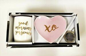 "3 PC TEA SET,MUG ""GOOD MORNING GORGEOUS"",INFUSER,HEART PLATE XO PINK,WHITE,GOLD"