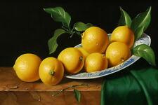 "Canvas Print Picture Still Life Fresh lemon Oil Painting on canvas 16""x24"" L004"