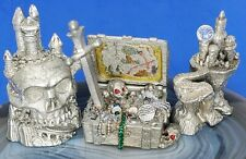 3 Vintage Spoontiques Pewter Fantasy Art Sculpture Pirate Treasure Castle Skull