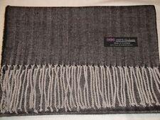 100% Cashmere Scarf Warm 72X12 Black Grey Tweed Herringbone Scotland Plaid Women