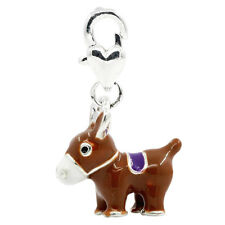 10 Clip On Charms Fit Link Chain Bracelets Enamel Donkey Silver Plated