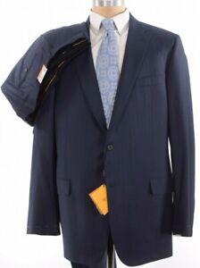 Hickey Freeman NWT Suit Sz 46L Deep Blue Flannel W/ Black Shadow Stripe $1,695