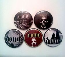 "5 x Down 1"" Pin Button Badges ( heavy metal stoner southern slugde music )"