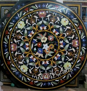 48 x 48 Inches Marble Inlay Conference Table with Antique Work Dining Table Top