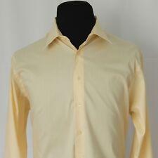 Joseph Abboud Mens Dress Shirt 18 34/35 Light Yellow Comfort Stretch Cotton